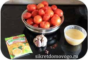 помидоры, чеснок, перец, мёд, лимонная кислота