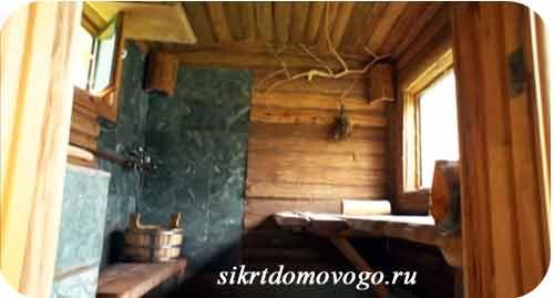 деревянная баня внутри