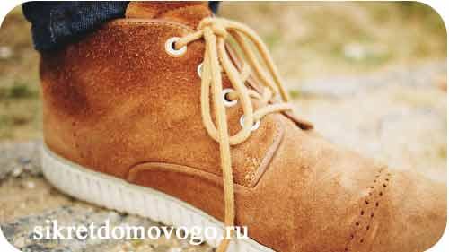 коричневый замшевый ботинок