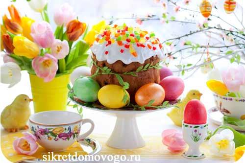 кулич и крашенные яйца