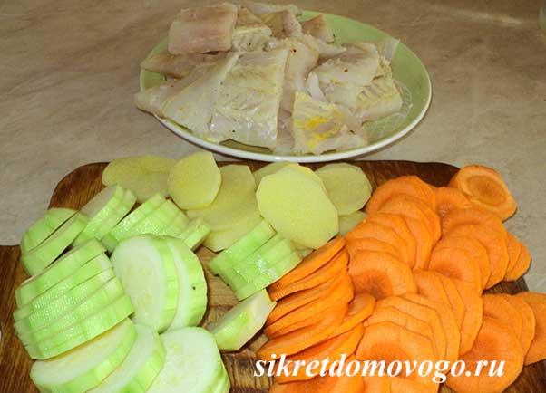 Аргетинская мерлуза, запечённая с овощами, вкусное блюдо для диабетиков