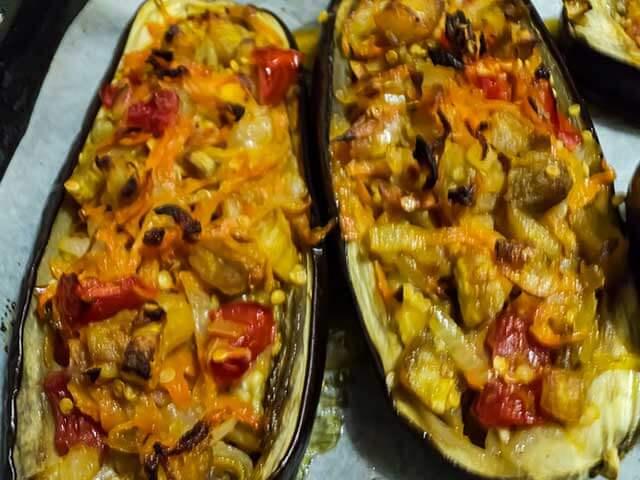 Лодочки заполненные овощами